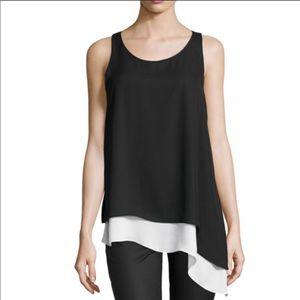 Max studio black white asymmetrical hem tank top